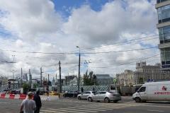 Baustelle vor dem Weißrussischen Bahnhof (Hintergrund), an dem wir ankamen.